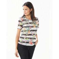 T-shirt rayures fleuries Christine Laure