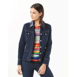Veste jean bleu foncé Christine Laure Espace mode du coteau Roanne