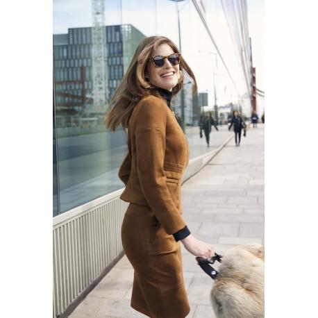 Jupe camel en suédine Christine Laure ref A4706 Christine Laure Espace mode du Coteau Roanne