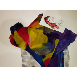 Echarpe satin de soie peint a la main Daniel Vial