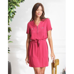 Robe rose a poches en Lyocell Christine Laure