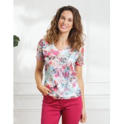 Tee-shirt résille écrue Christine Laure ref BO375 Espace Mode du Coteau Roanne