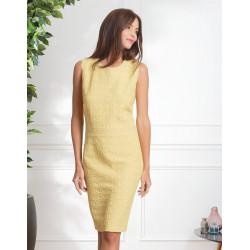 Robe Chic habillé jaune Christine Laure ref BO172 Espace Mode du Coteau Roanne