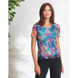 Tee-shirt bleu , résille Christine Laure ref 376 Espace Mode Du Coteau Roanne