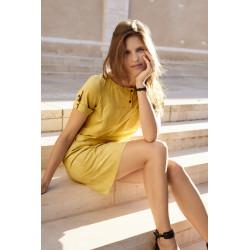 Robe jaune en suédine Christine Laure ref BO245 Espace Mode Du Coteau Roanne