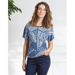 Tee-shirt ethnique bleu Christine Laure BO574 Espace Mode du Coteau Roanne