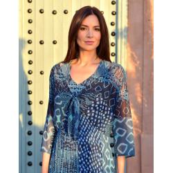 Robe Cérémonie plissée turquoise ref BO430 Christine Laure Espace Mode Du Coteau Roanne