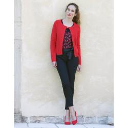 Gilet fantaisie rouge Christine Laure Ref B2644 Espace Mode Du Coteau Roanne