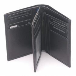 Portefeuille cuir Arthur & Aston 1589 127 1D Noir fil bleu-Maroquinerie Quey Charlieu