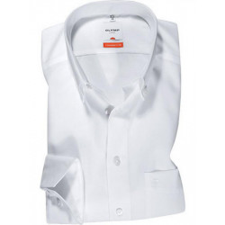 Chemise manches longues 100% coton sans repassage & infroissable Olymp Luxor blanche modern fit pointes boutonnées 0303/64/00