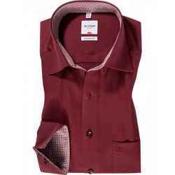 Chemise manches longues 100% coton sans repassage & infroissable Olymp Luxor faux uni rouge foncé comfort fit 2119/64/39