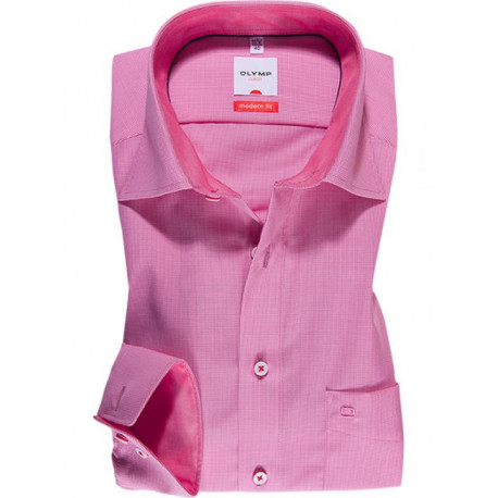 Chemise manches longues 100% coton sans repassage & infroissable Olymp Luxor micro carreaux roses modern fit 1341/64/30
