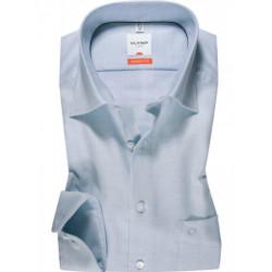 Chemise manches longues 100% coton sans repassage & infroissable Olymp Luxor bleue effet natté comfort fit 3124/64/11