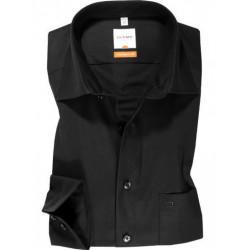 Chemise manches longues 100% coton sans repassage & infroissable Olymp Luxor noire modern fit 0300/64/68