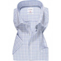 Chemise manches courtes 100% coton sans repassage & infroissable Olymp Luxor 3125/12/23 carreaux bleu/taupe comfort fit