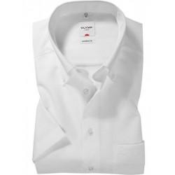 Chemise manches courtes 100% coton sans repassage & infroissable Olymp Luxor blanche comfort fit pointes boutonnées 0251/12/00
