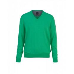 Pull col V coton & cachemire 0161/10/45 vert