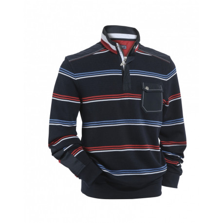 Polo manches longues Brad Navy/Multico Saint James