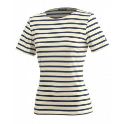 Tee-shirt manches courtes Etrille Ecru/Marine