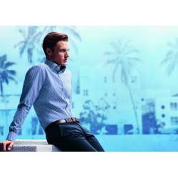 Chemise manches longues 100% coton sans repassage & infroissable Olymp Luxor fantaisie bleu roi modern fit 1208/74/19