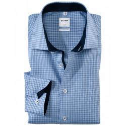 Chemise manches longues 100% coton sans repassage & infroissable Olymp Luxor fantaisie bleu comfort fit 1002/74/11