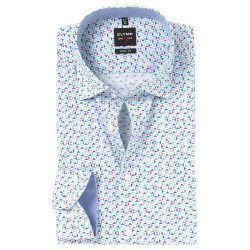 Chemise manches longues Olymp Level Five blanche fantaisie 2156/74/40