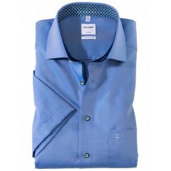 Chemise manches courtes 100% coton sans repassage & infroissable Olymp Luxor bleu fantaisie comfort fit 1126/72/19