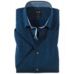 Chemise manches courtes 100% coton sans repassage & infroissable Olymp Luxor marine fantaisie à pois 1322/72/18 modern fit