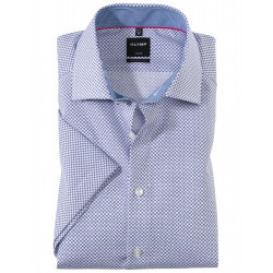 Chemise manches courtes 100% coton sans repassage & infroissable Olymp Luxor blanche motif bleu roi 1330/72/19 modern fit
