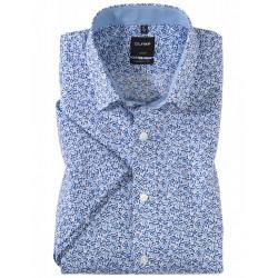 Chemise manches courtes 100% coton sans repassage & infroissable Olymp Luxor bleu roi esprit liberty 1340/72/19 modern fit