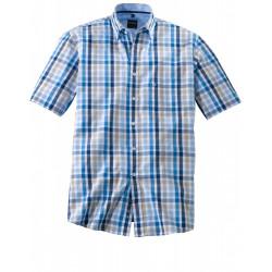 Chemise manches courtes Olymp Casual carreaux bleus et beige 4042/75/15