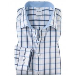 Chemise manches longues 100% coton sans repassage & infroissable Olymp Luxor comfort fit carreaux bleus 1047/84/11