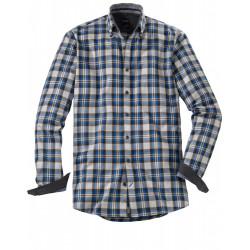 Chemise manches longues Olymp Casual carreaux bleu et graphite 4060/84/69