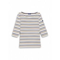 T-Shirt manches 3/4 Garde-côte III Multico Neige/Sienne