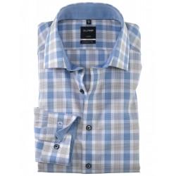 Chemise manches longues 100% coton sans repassage & infroissable Olymp Luxor carreaux ciel et marron modern fit 1208/14/28