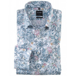 Chemise manches longues 100% coton sans repassage & infroissable Olymp Luxor blanche imprimé fantaisie modern fit 1258/14/11