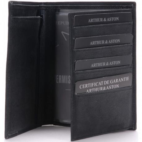 Portefeuille Arthur & Aston 1438 805 A Noir-Maroquinerie Quey Charlieu