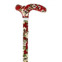 Canne pliante Femme Fayet 220 Rouge motifs floraux Maroquinerie Quey CHARLIEU